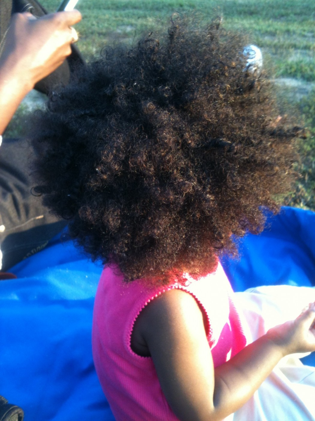 My baby's hair, the way we both love it.