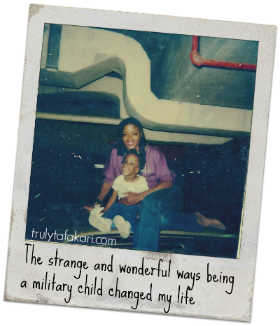 military mother and young child