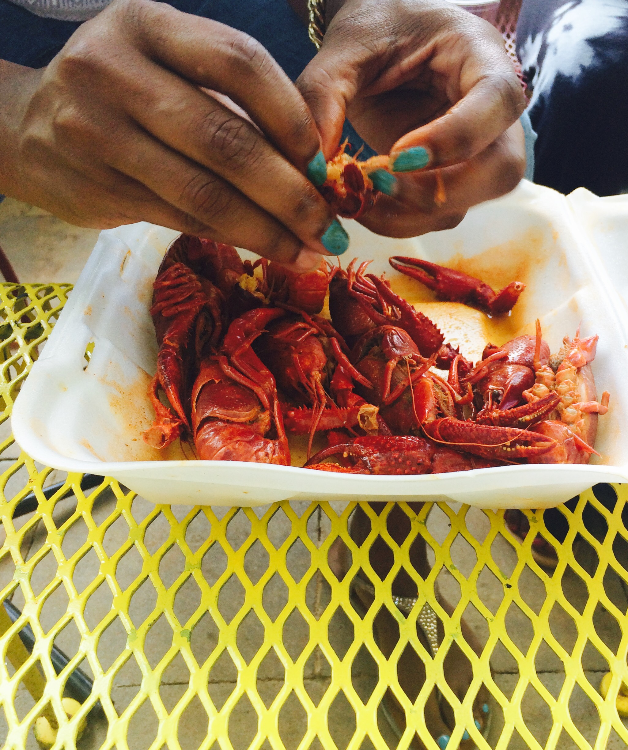eating crawfish