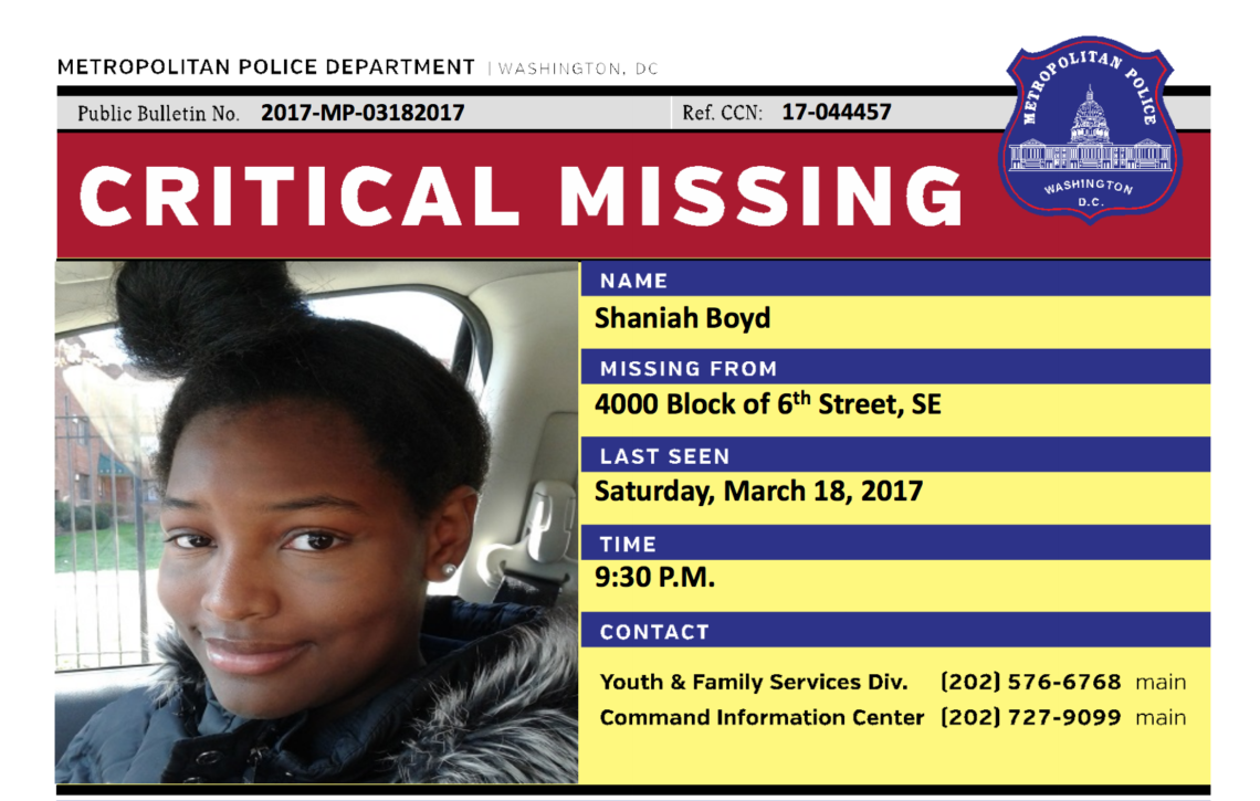 DC missing girls Shaniah Boyd